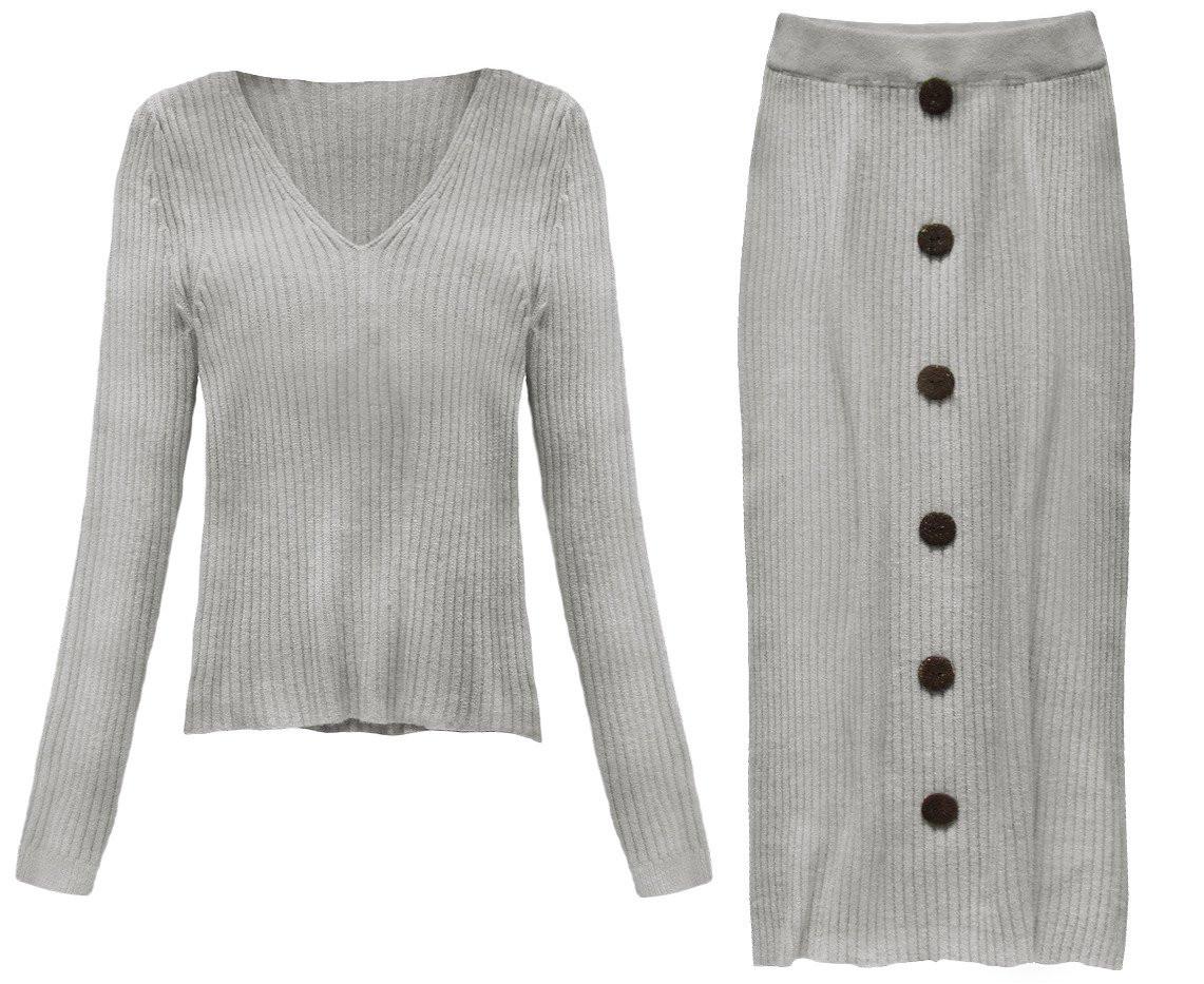 Šedý á la vlněný komplet - svetr a sukně (157ART) šedá ONE SIZE