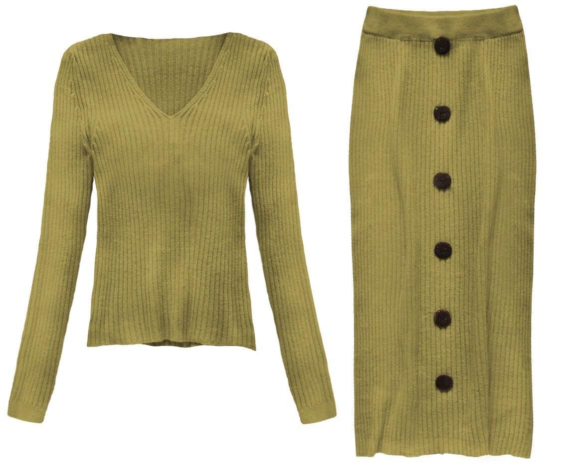 Á la vlněný komplet v hořčicové barvě - svetr a sukně (157ART) žlutá ONE SIZE