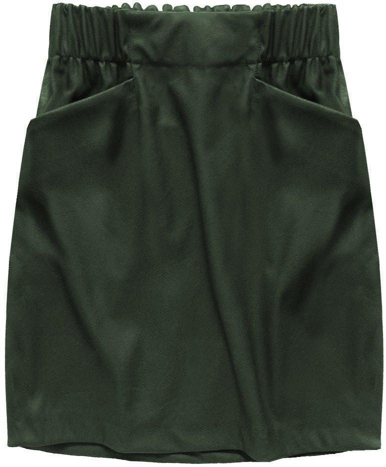Dámská sukně v khaki barvě z eko kůže, s kapsami (131ART) khaki S (36)