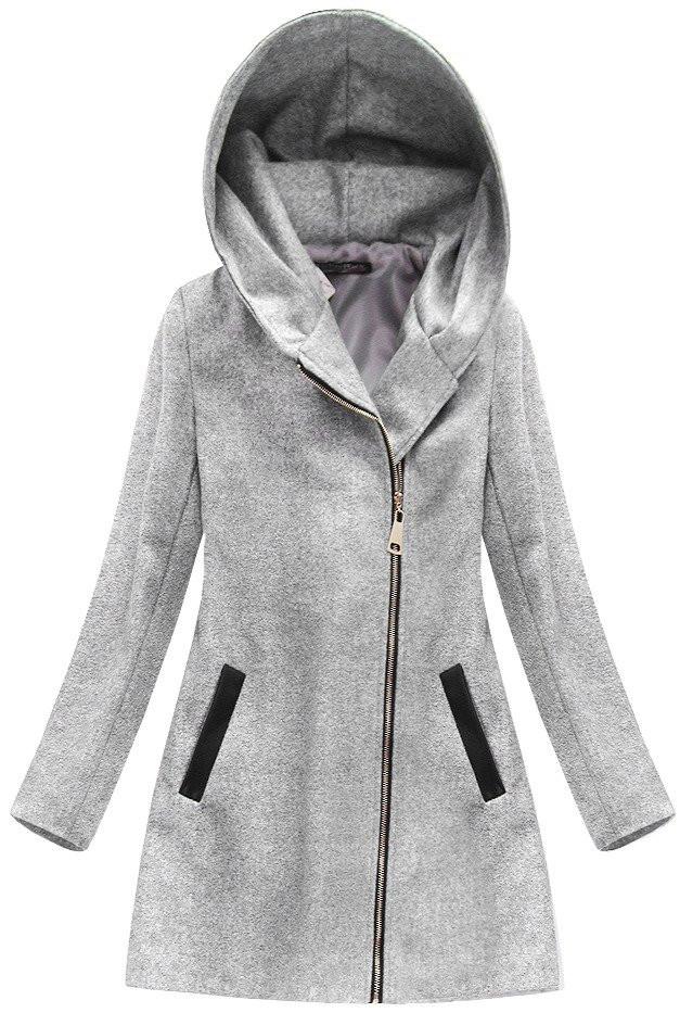 2bdd30d0337 Světle šedý kabát s kapucí a přídavkem vlny (6766) šedá L (40)