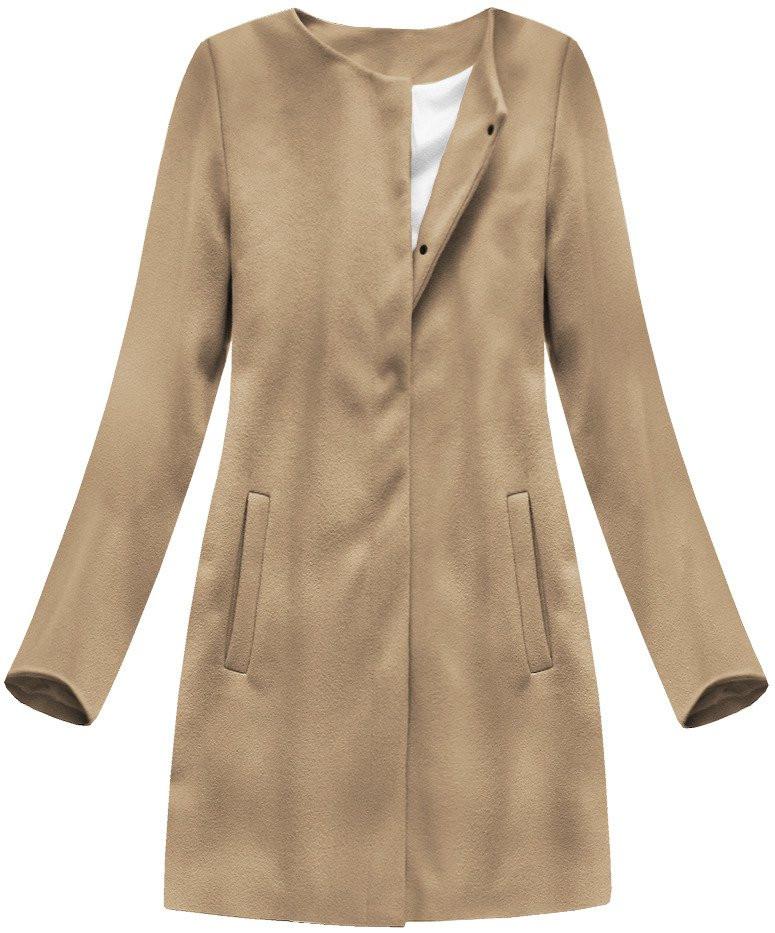 Světle hnědý minimalistický kabát (172ART) hnědá L (40)