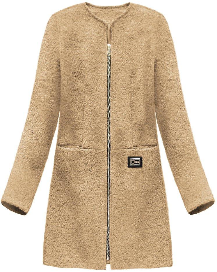Béžový dámský vlněný kabát (22643) béžová S (36)