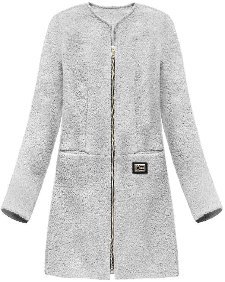 Šedý dámský vlněný kabát (22643) šedá XL (42)