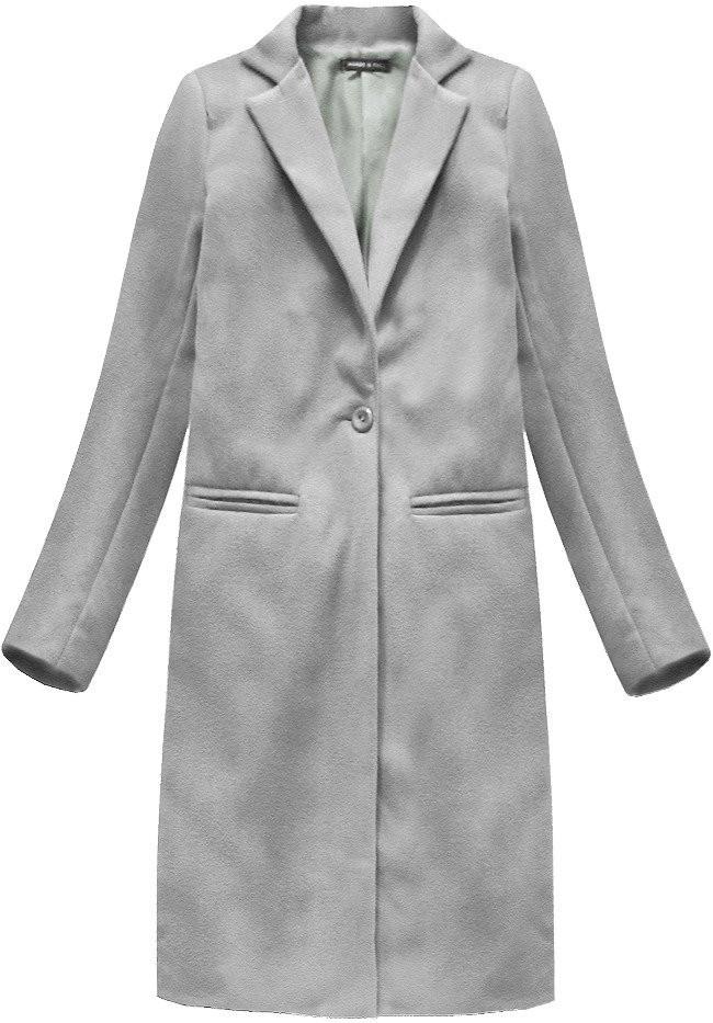 083b221f931 Jednoduchý šedý kabát se zapínáním na jeden knoflík (2995) šedá L (40)