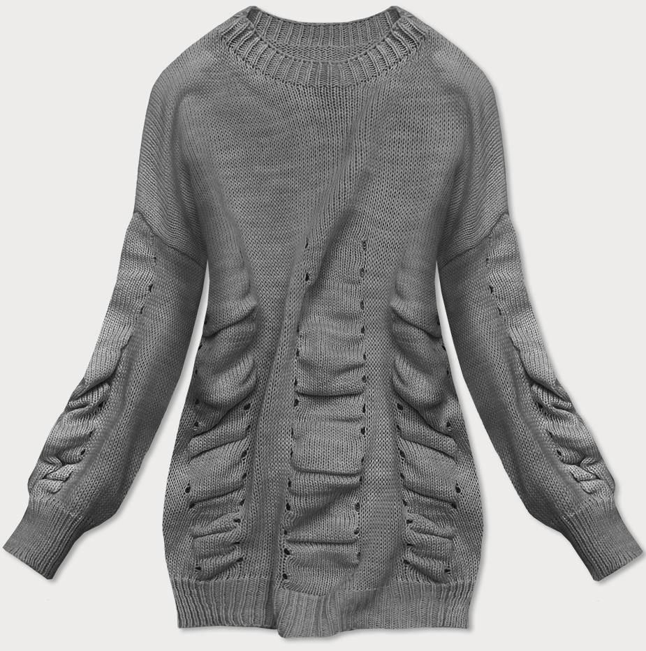 Tmavě šedý dámský svetr s nabíráním (182ART) šedá ONE SIZE