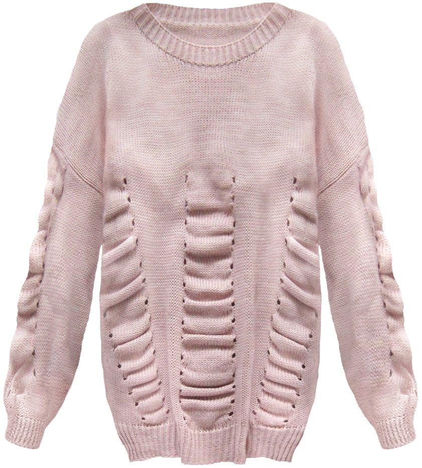Růžový dámský svetr s nabíráním (182ART) růžová ONE SIZE d1012f95cc