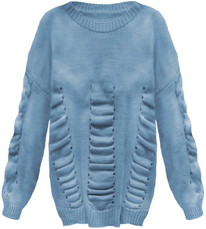 Modrý dámsky sveter s naberaním (182ART) modrá ONE SIZE