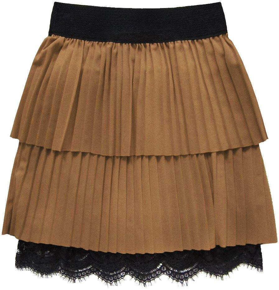 Karamelová plisovaná sukně s krajkou (18922) hnědá ONE SIZE