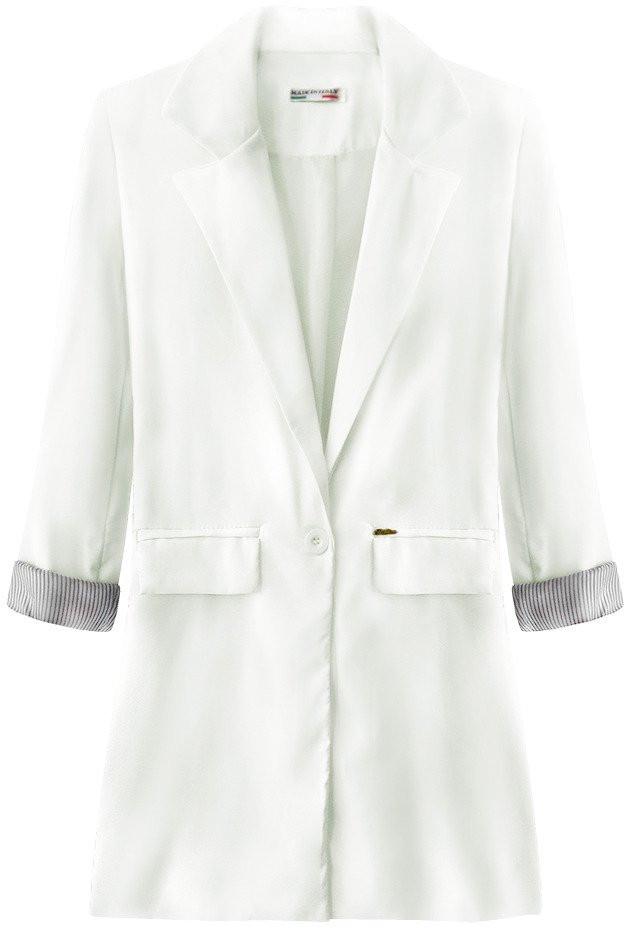 Dlouhé bílé sako s vyhrnutými manžetami (198ART) bílá XL (42)