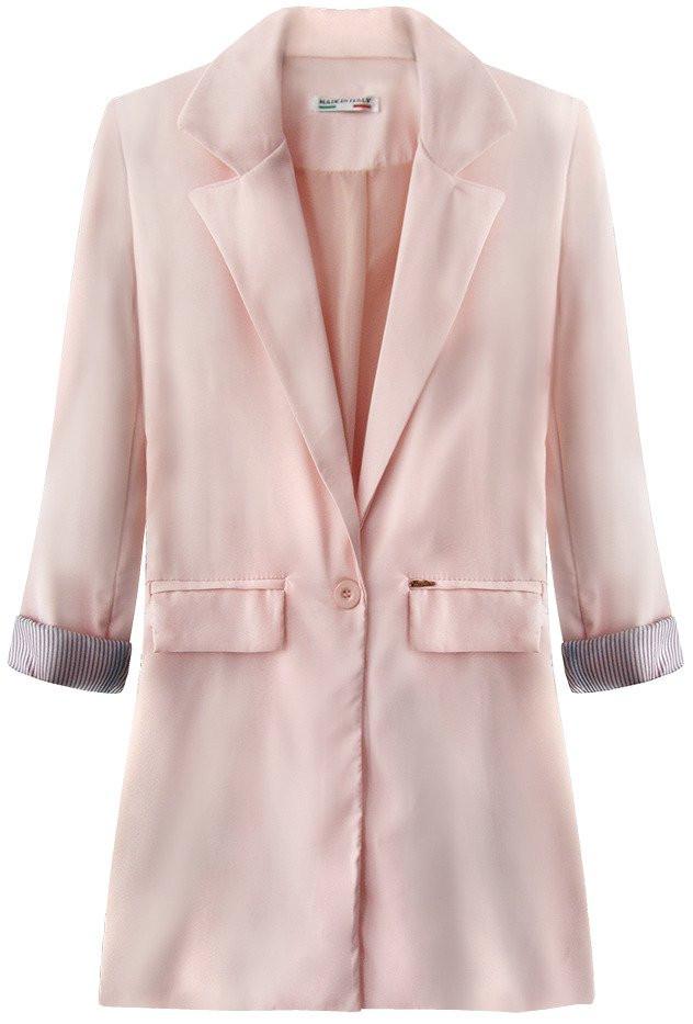 Dlouhé sako v pudrově růžové barvě s vyhrnutými manžetami (198ART) růžová S (36)