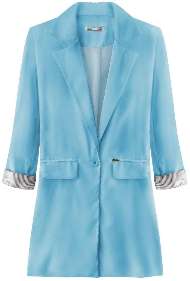 Dlouhé světle modré sako s vyhrnutými manžetami (198ART) modrá S (36)