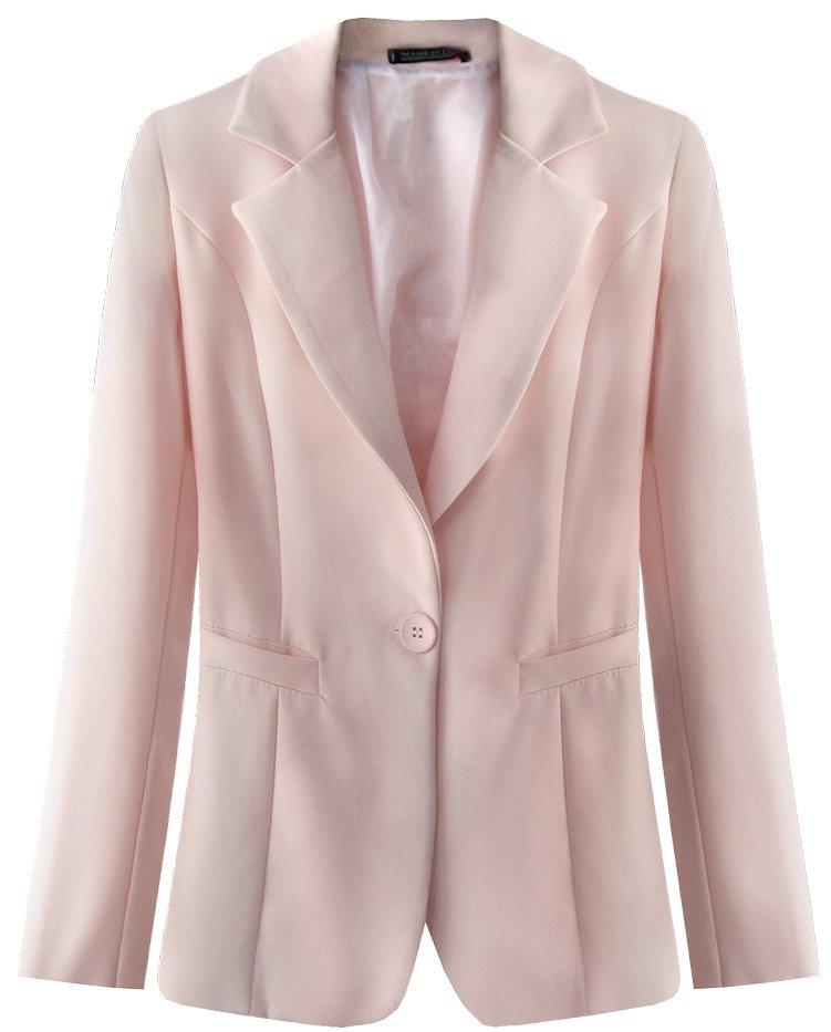 Klasické sako v pudrově růžové barvě (6783) růžová S (36)