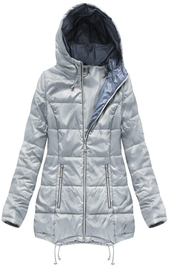 Šedá prešívaná bunda s kapucňou (B1075-30) šedá XXL (44)