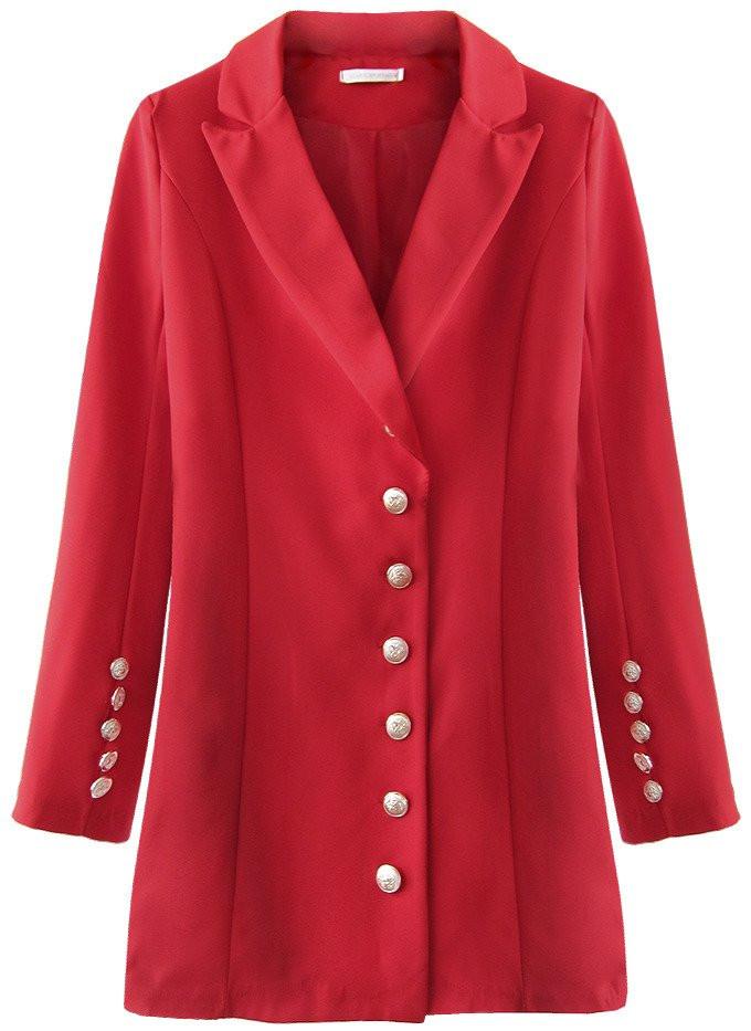 Červené sako s knoflíky (215ART) červená S (36)