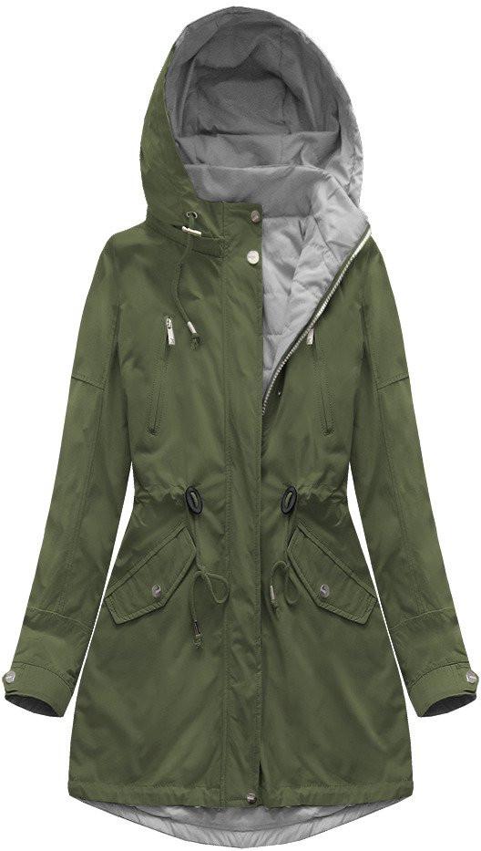 Oboustranná bunda parka v khaki-šedé barvě s kapucí (W0232) khaki XL (42)