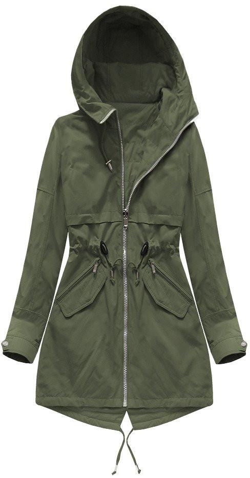 Oboustranná bunda parka v khaki barvě s kapucí (W0236) khaki XL (42)