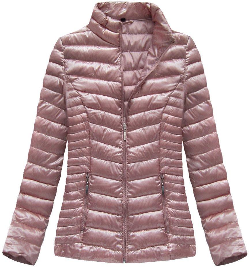 Růžová lesklá bunda se stojáčkem (B2601) růžová XL (42)