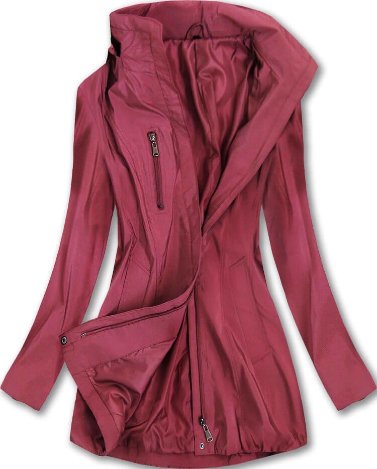 Lesklá bunda v bordó barvě s kapucí (B2610-30) bordó XXL (44)