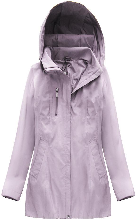 Lesklá bunda ve vřesové barvě s kapucí (B2610-30) fialová 48
