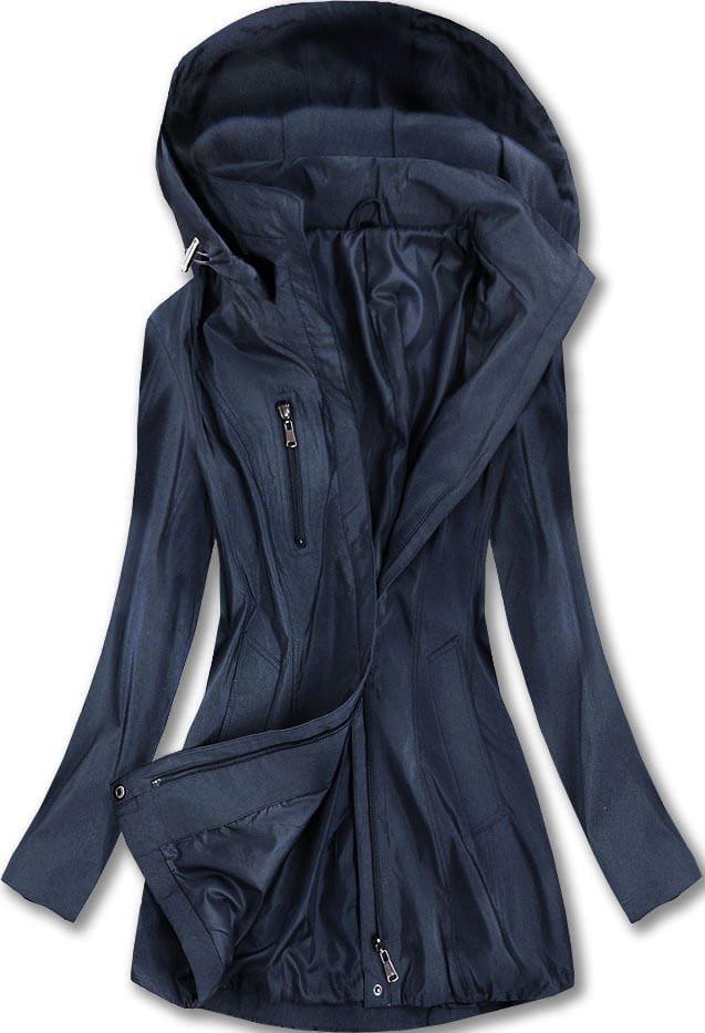 Tmavě modrá lesklá bunda s kapucí (B2610-30) tmavěmodrá 52
