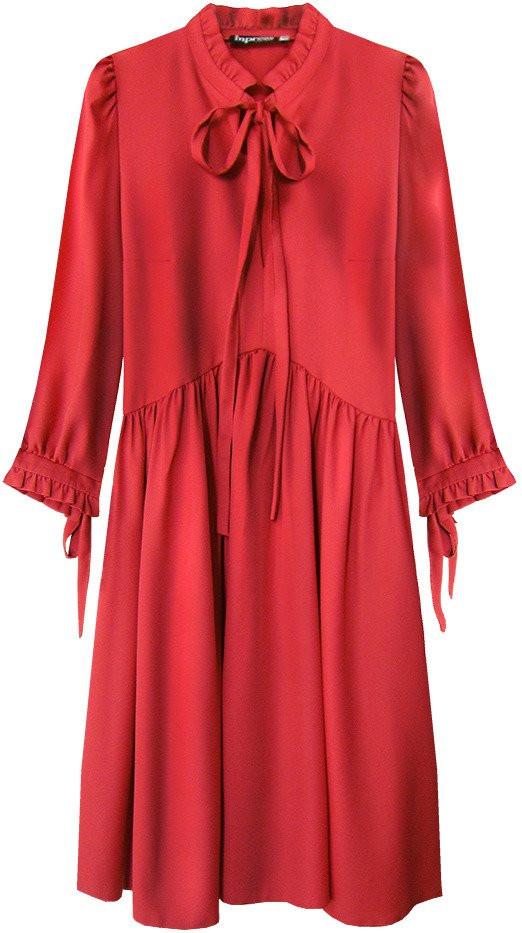 Červené dámske šaty s volánikovým stojačikom (208ART) červená M (38)