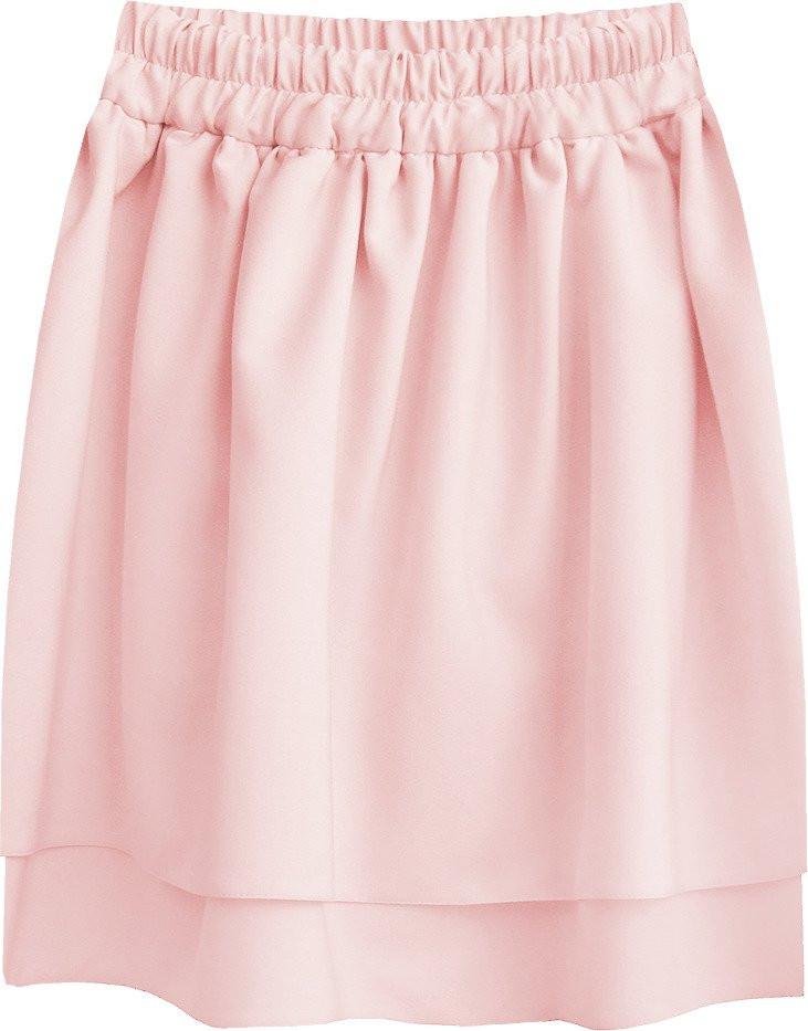 Pudrově růžová dvojvrstvá minisukně (294ART) růžová XL (42)