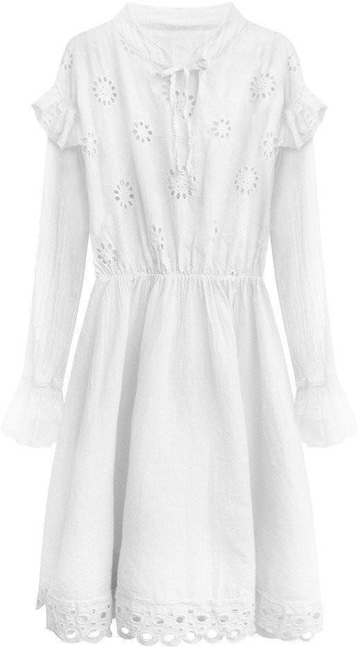 bb1ab1869630 Bílé bavlněné dámské šaty s výšivkou (303ART) bílá ONE SIZE