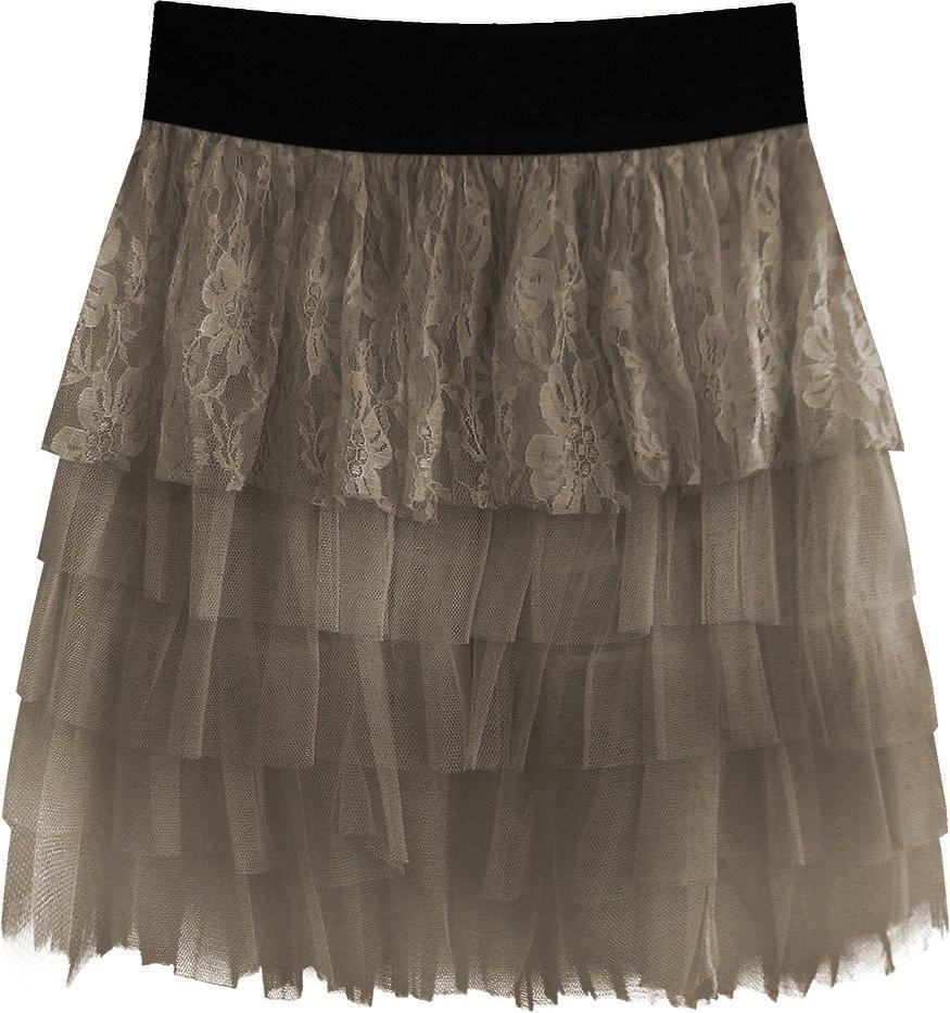 bc20e6086979 Dámská sukně v kakaové barvě s volánky a krajkou (312ART) hnědá ONE SIZE