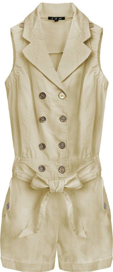 Krátký béžový dámský overal ze lnu a bavlny (1601) béžová M (38)