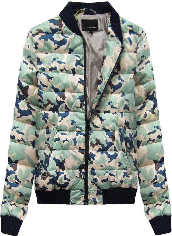 """Béžová bunda typu """"bomber"""" s maskáčovým vzorem moro (2030LJ) béžová L (40)"""