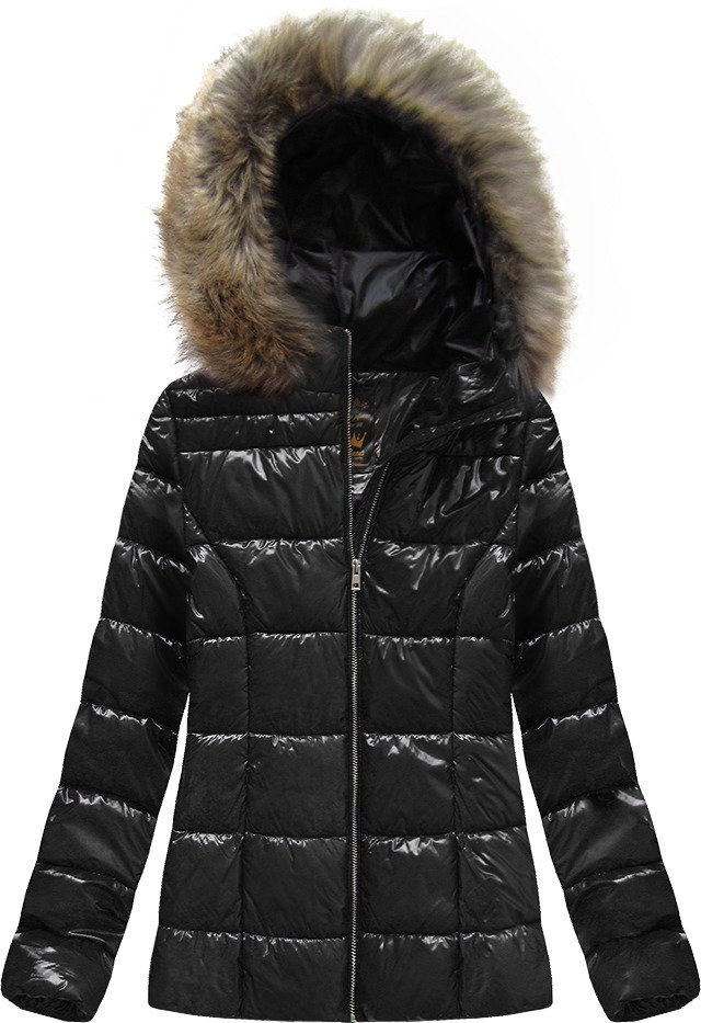 Čierna lakovaná prešívaná dámska bunda (7695) černá L (40)