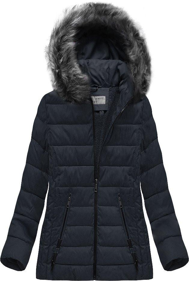 Tmavomodrá dámska zimná bunda (R9505) tmavěmodrá 50