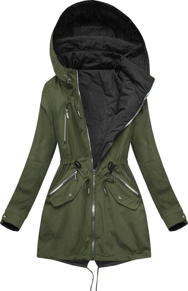 Oboustranná bunda parka v khaki-černé barvě s kapucí (W306) khaki XL (42)