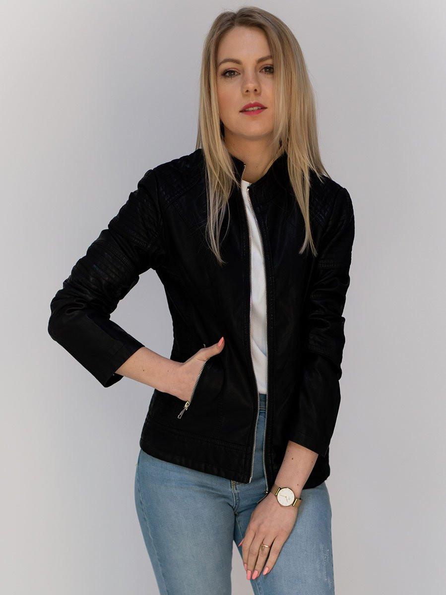 Čierna dámska koženková bunda (TD113) černá M (38)