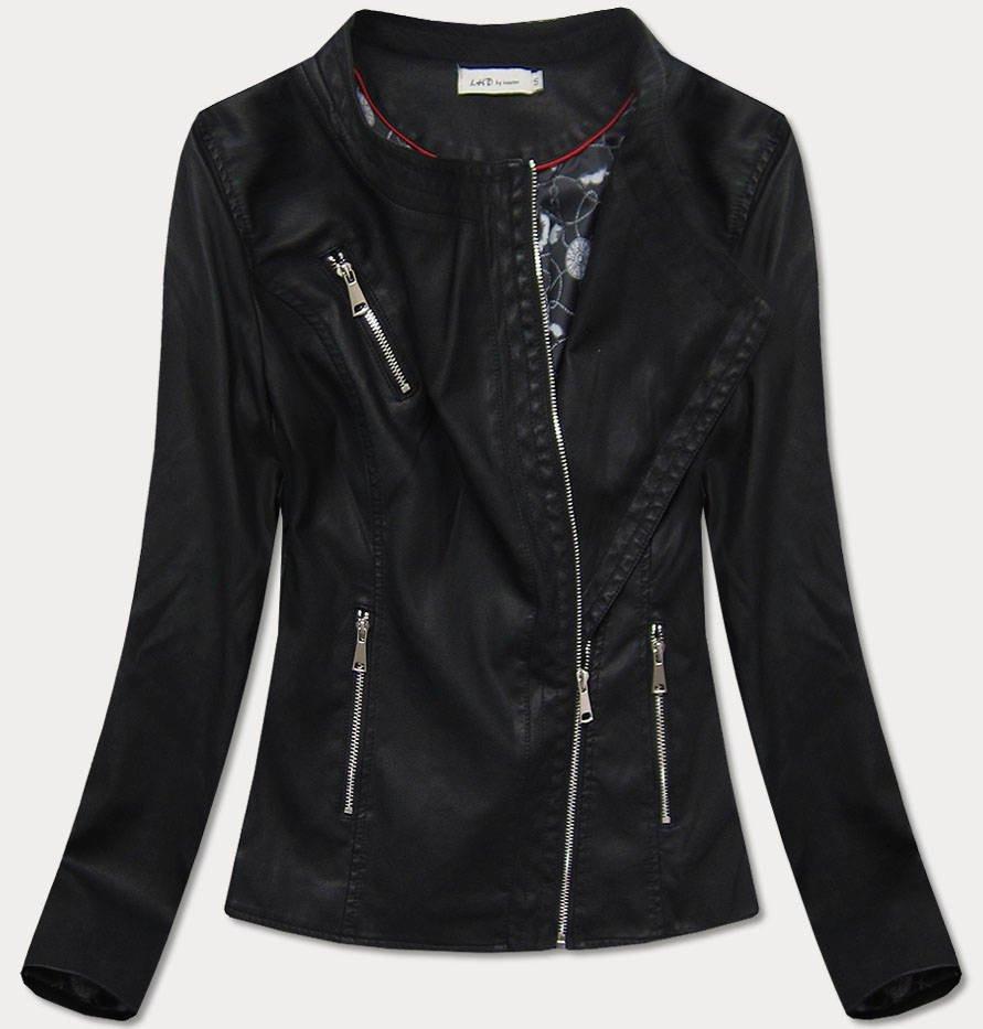 Čierna dámska koženková bunda (TD813) čierna M (38)