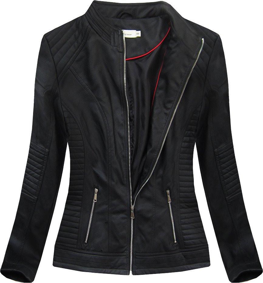 Čierna dámska koženková bunda (TD1136) čierna 48