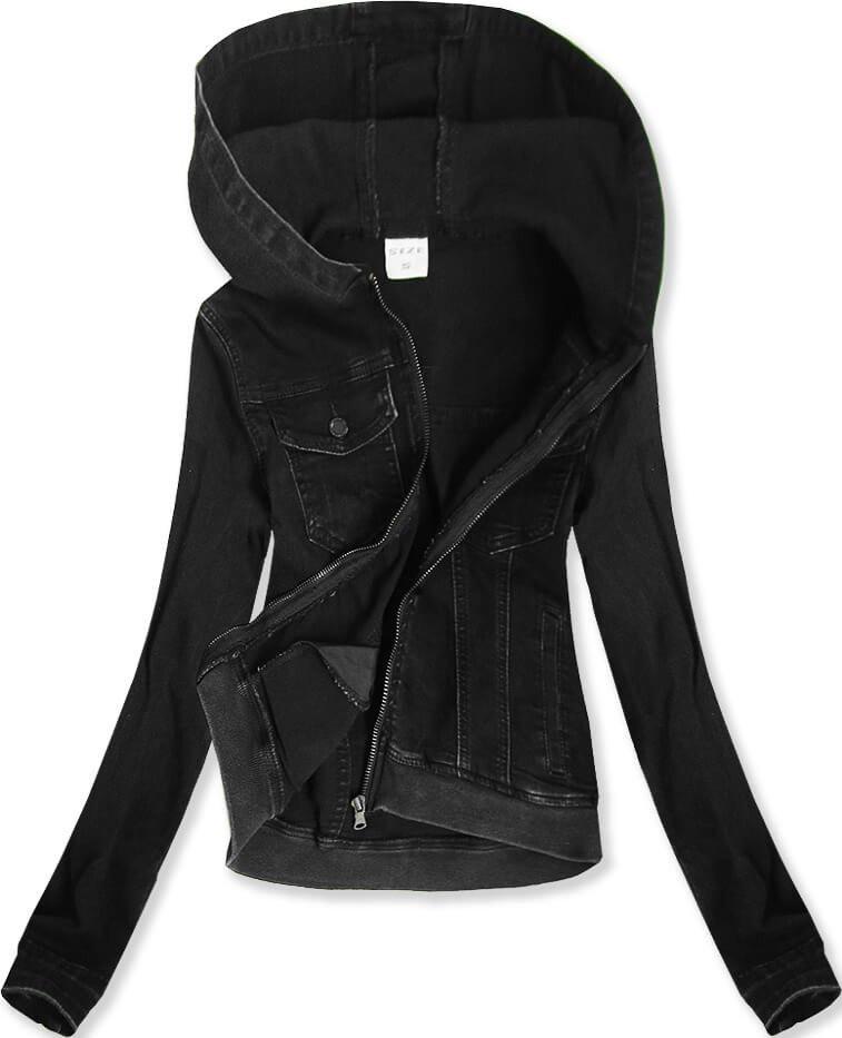 Krátká černá dámská džínová bunda s kapucí (5582) černá S (36)