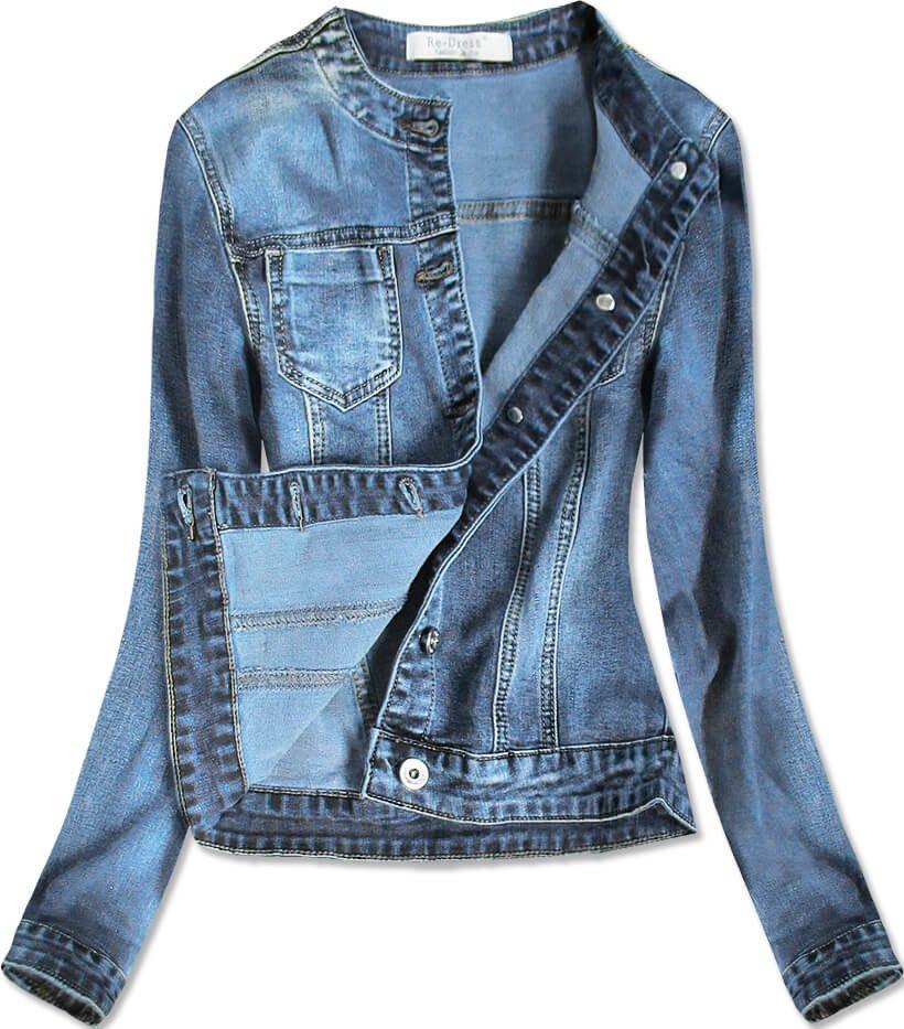 Krátká světle modrá dámská džínová bunda (C016) modrá XS (34)