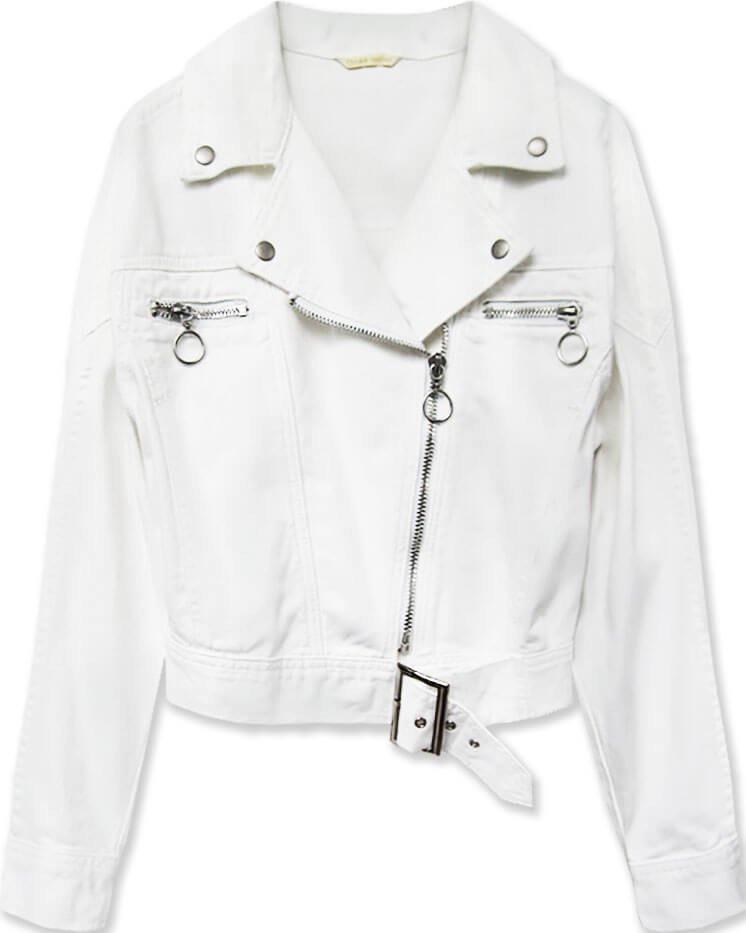 Krátka biela dámska džínsová bunda s golierom (H115) biely XS (34)