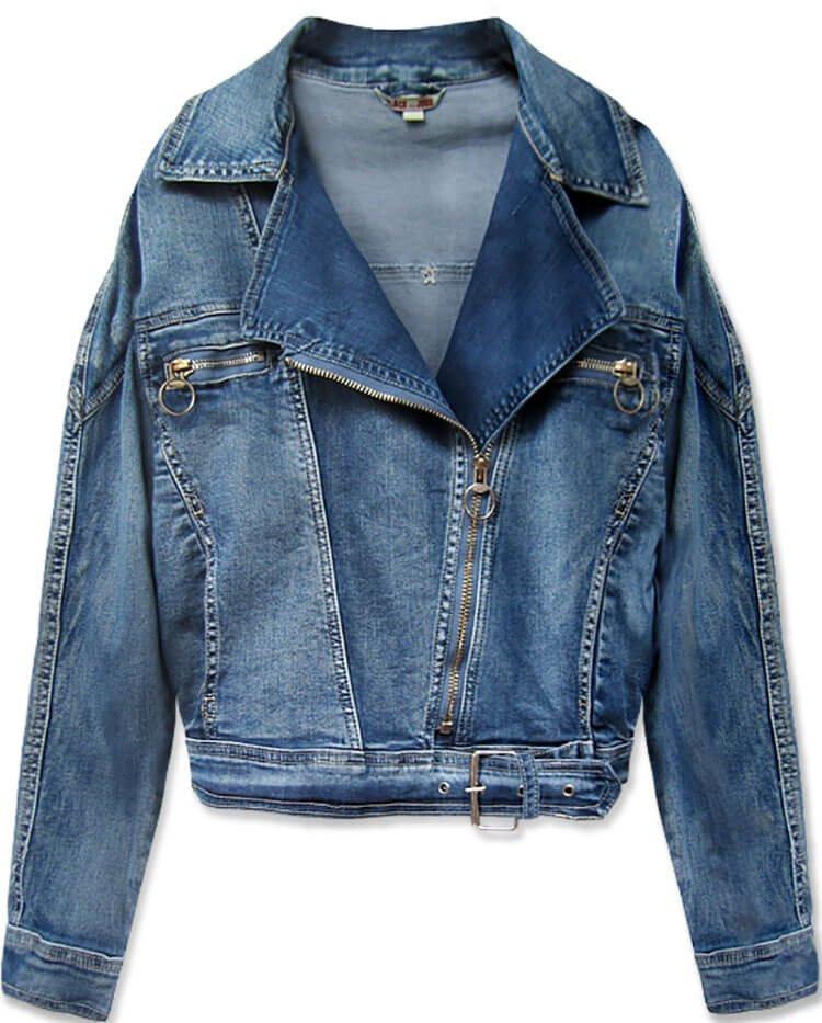 Světle modrá krátká dámská džínová oversize bunda (055-1) modrá S (36)