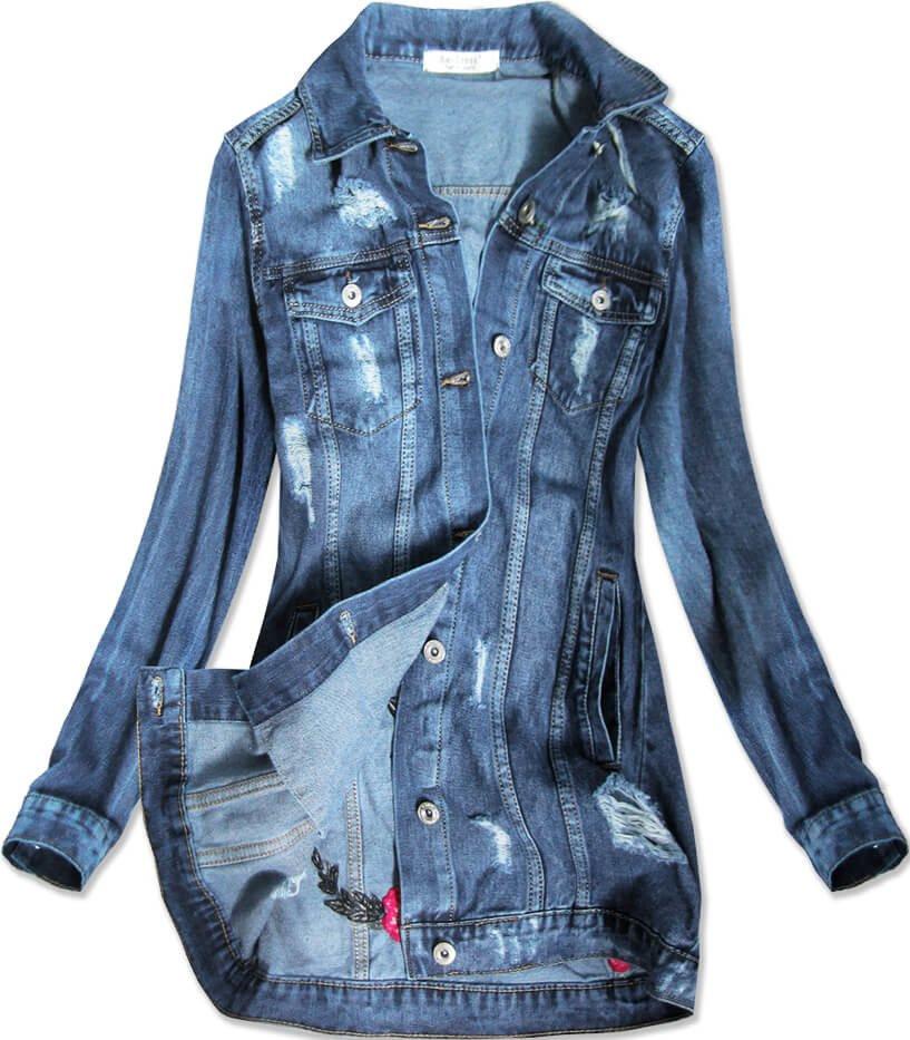 Svetlo modrá dlhá dámska džínsová oversize bunda (C089) modrý XS (34)