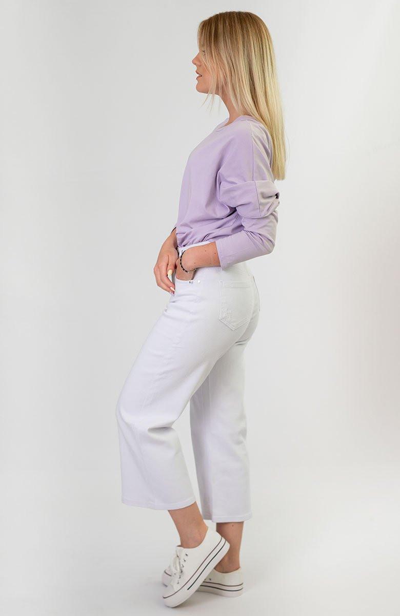 Široké dámske zvonové nohavice v bielej farbe (B102) bílá XS (34)