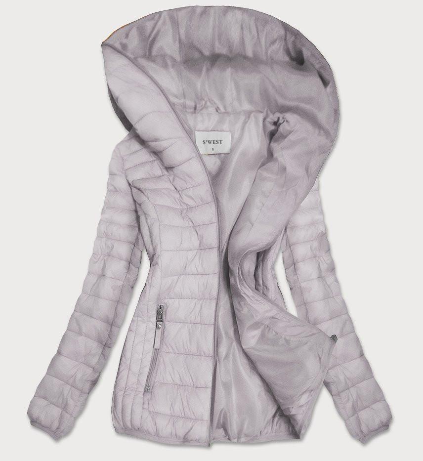 Šedá prešívaná dámska bunda s kapucňou (B0101) šedá L (40)