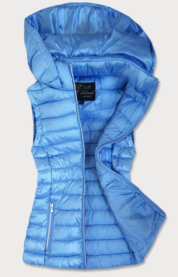 Svetlo modrá prešívaná lesklá dámska vesta (7000) modrá XL (42)