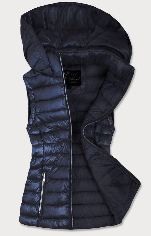 Tmavě modrá prošívaná lesklá dámská vesta (7000) tmavěmodrá S (36)