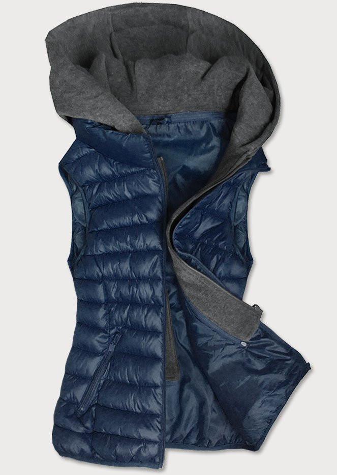 Tmavě modrá dámská vesta s teplákovu kapucí (B2704) tmavěmodrá 50
