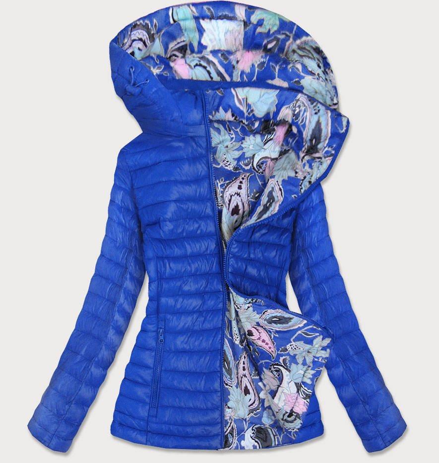 Svetlo modrá obojstranná dámska bunda (7174) modrý M (38)