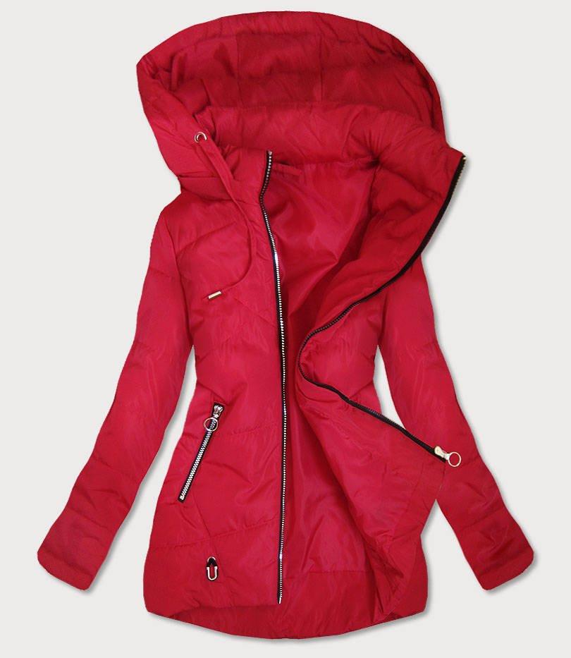 Tenká červená dámska bunda s asymetrickým spodným okrajom (B9531) červené S (36)
