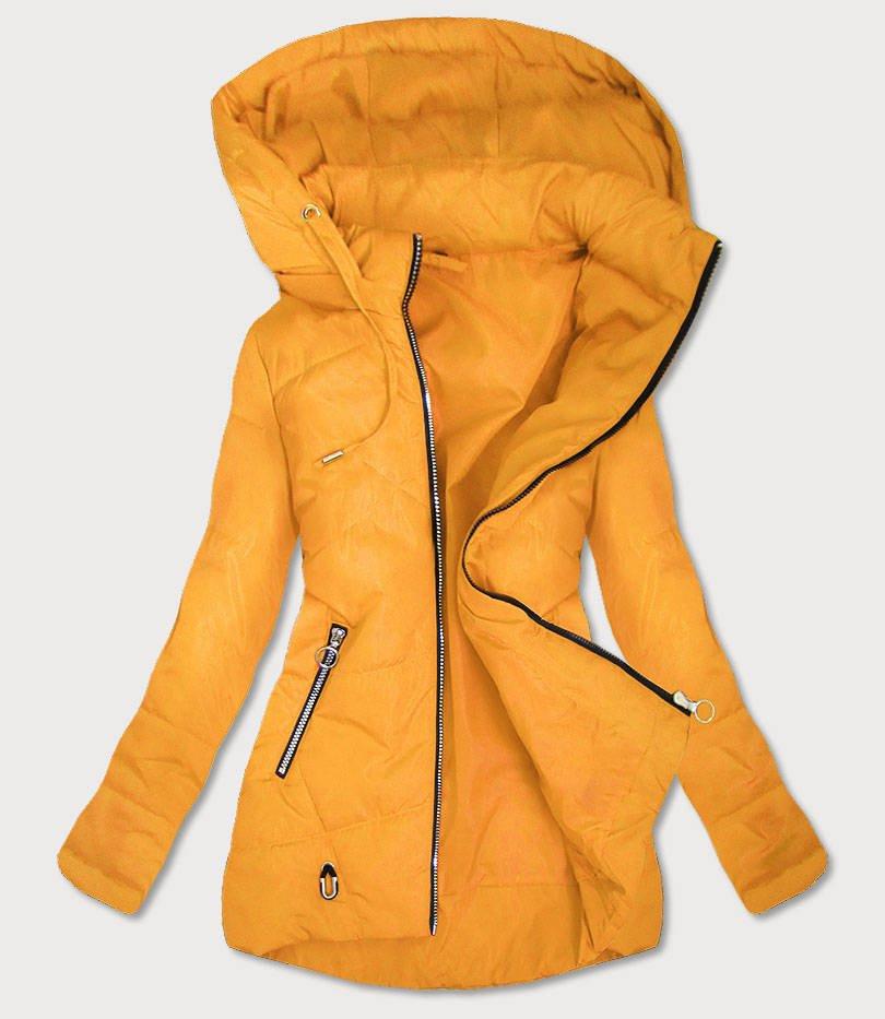 Tenká žltá dámska bunda s asymetrickým spodným okrajom (B9531) žltá XL (42)