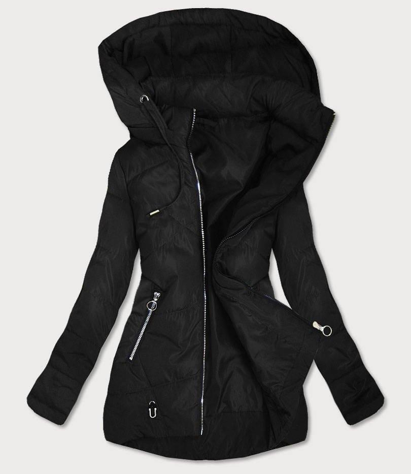 Tenká čierna dámska bunda s asymetrickým spodným okrajom (B9532) čierna 52